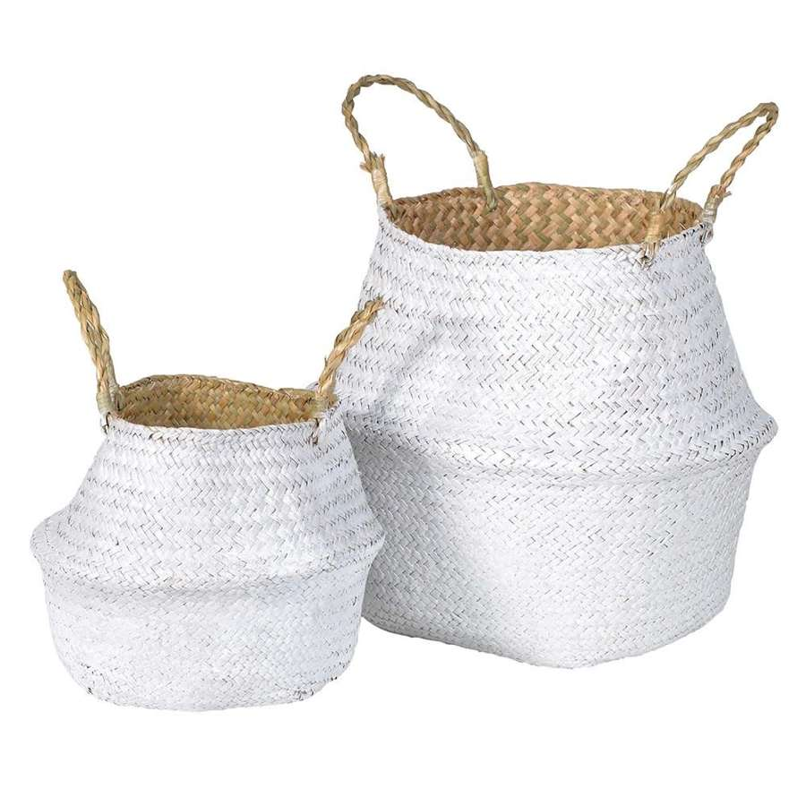 Pair of White Seagrass Baskets
