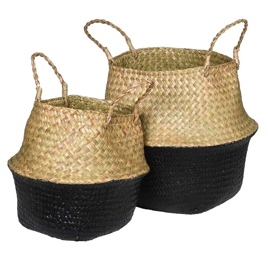 Pair of Black and Natural Seagrass Baskets