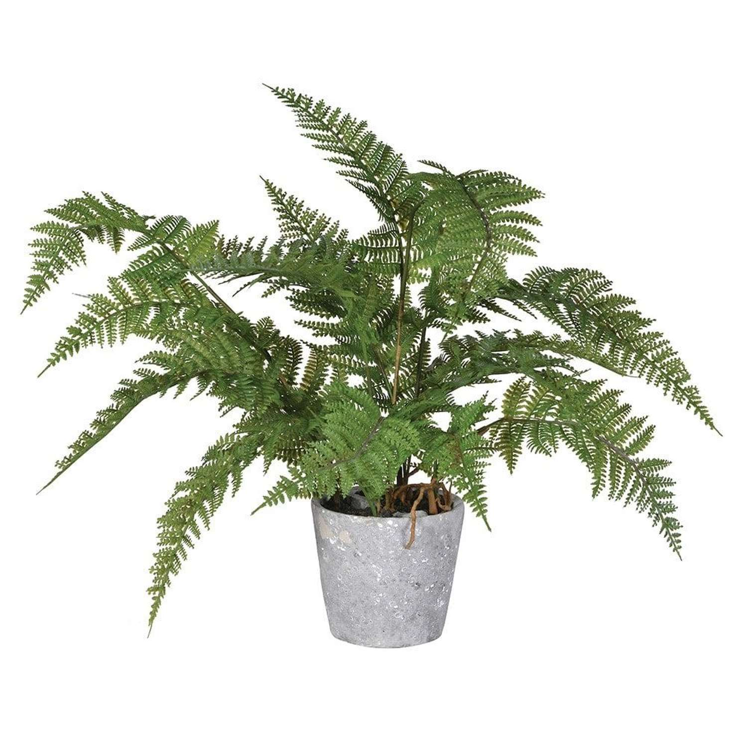 Artificial Green Fern in Grey Pot
