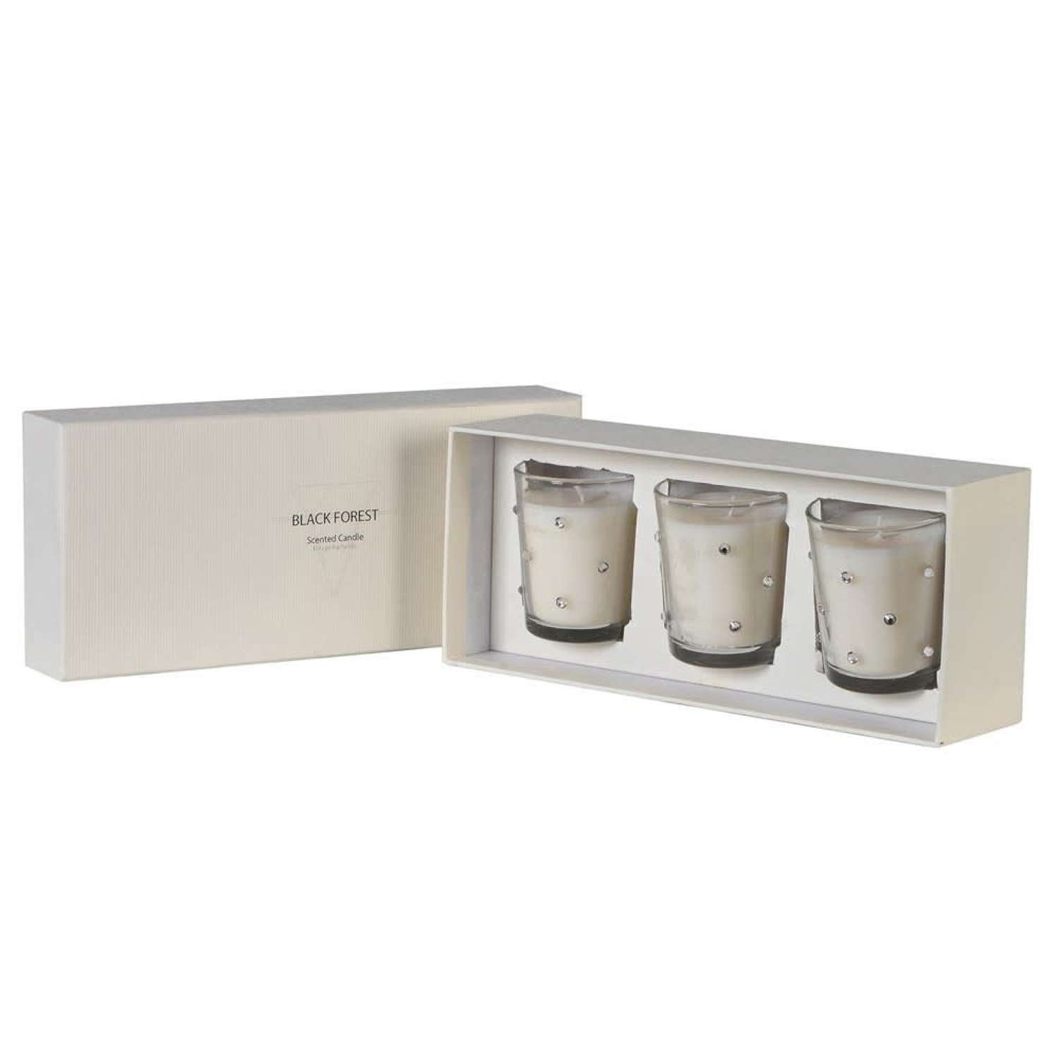 Set of 3 Diamante Candles - Warm, Woody Cologne