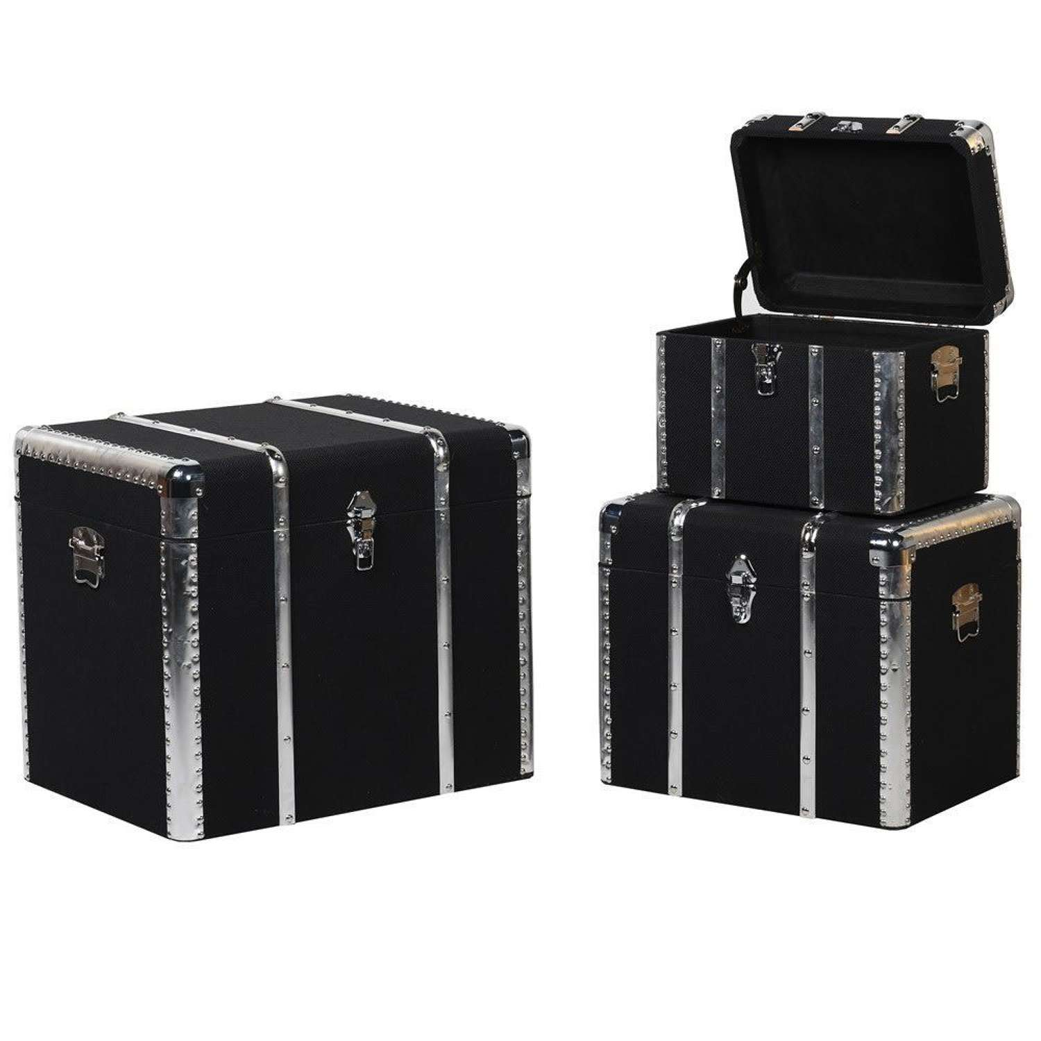 Set of 3 Smart Black Trunks with Silver Detail