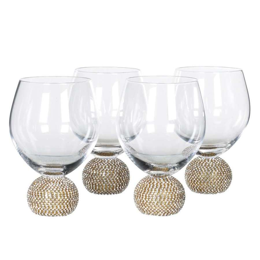 Gold Diamante Water/Tumbler Glasses