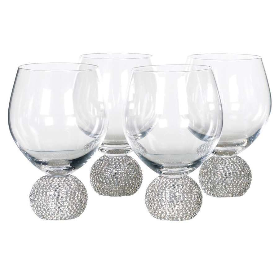 Silver Diamante Water/Tumbler Glasses
