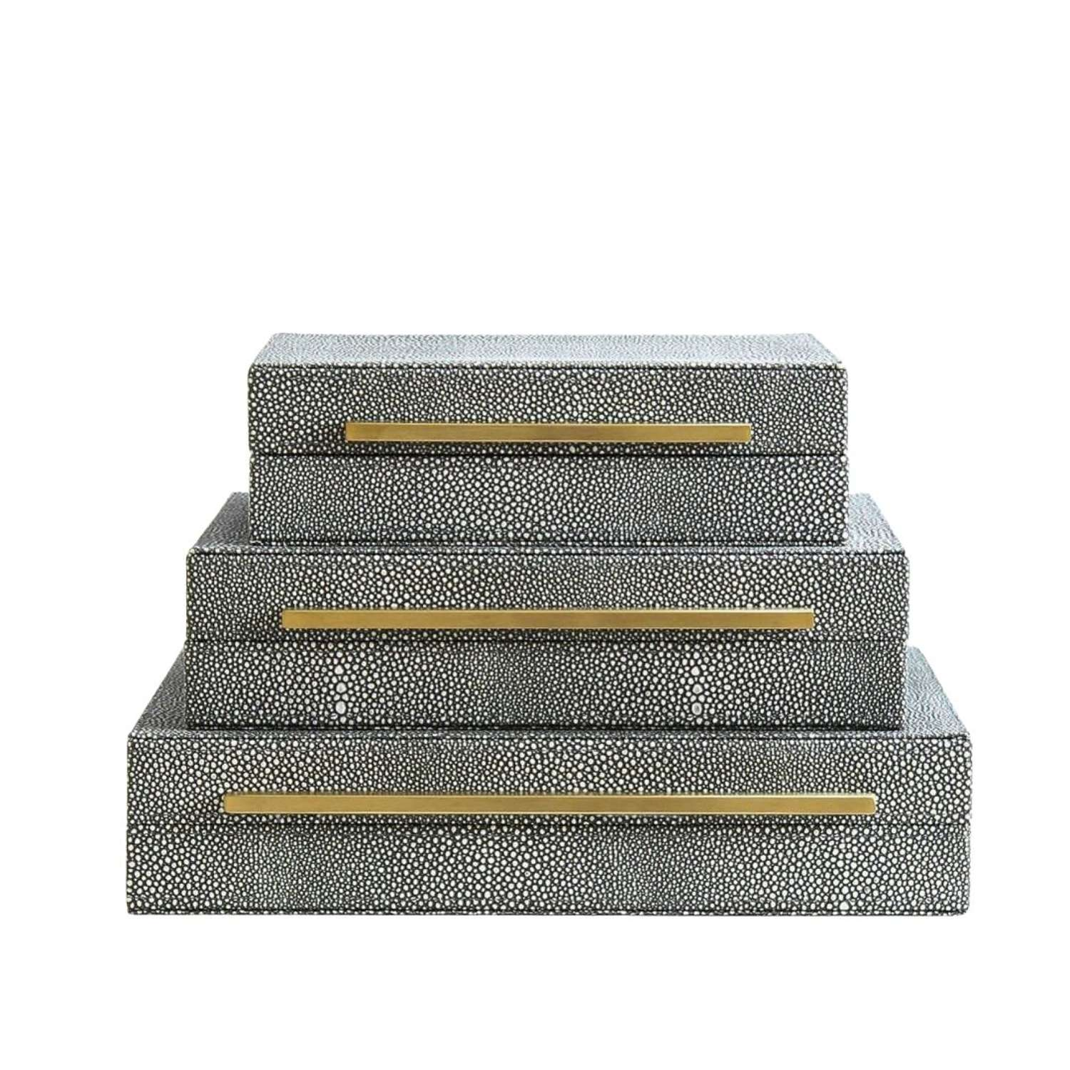 Trio of Faux Shagreen Leather Storage Boxes