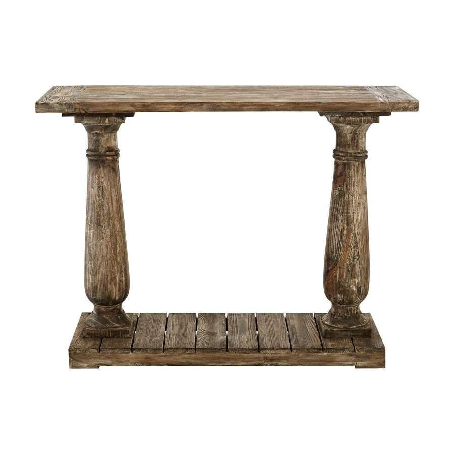 Recycled Pine Wood Pedestal Console Table