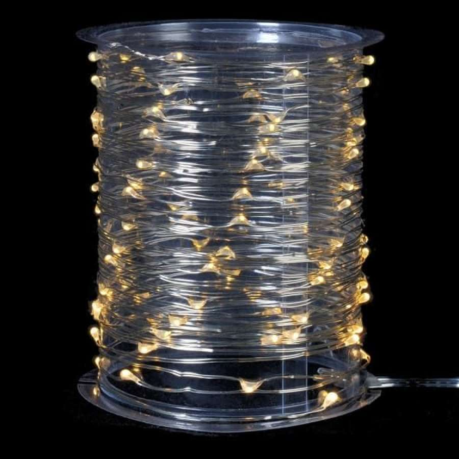 Reel of 100 rice lights - 990cm long (Silver Wire)