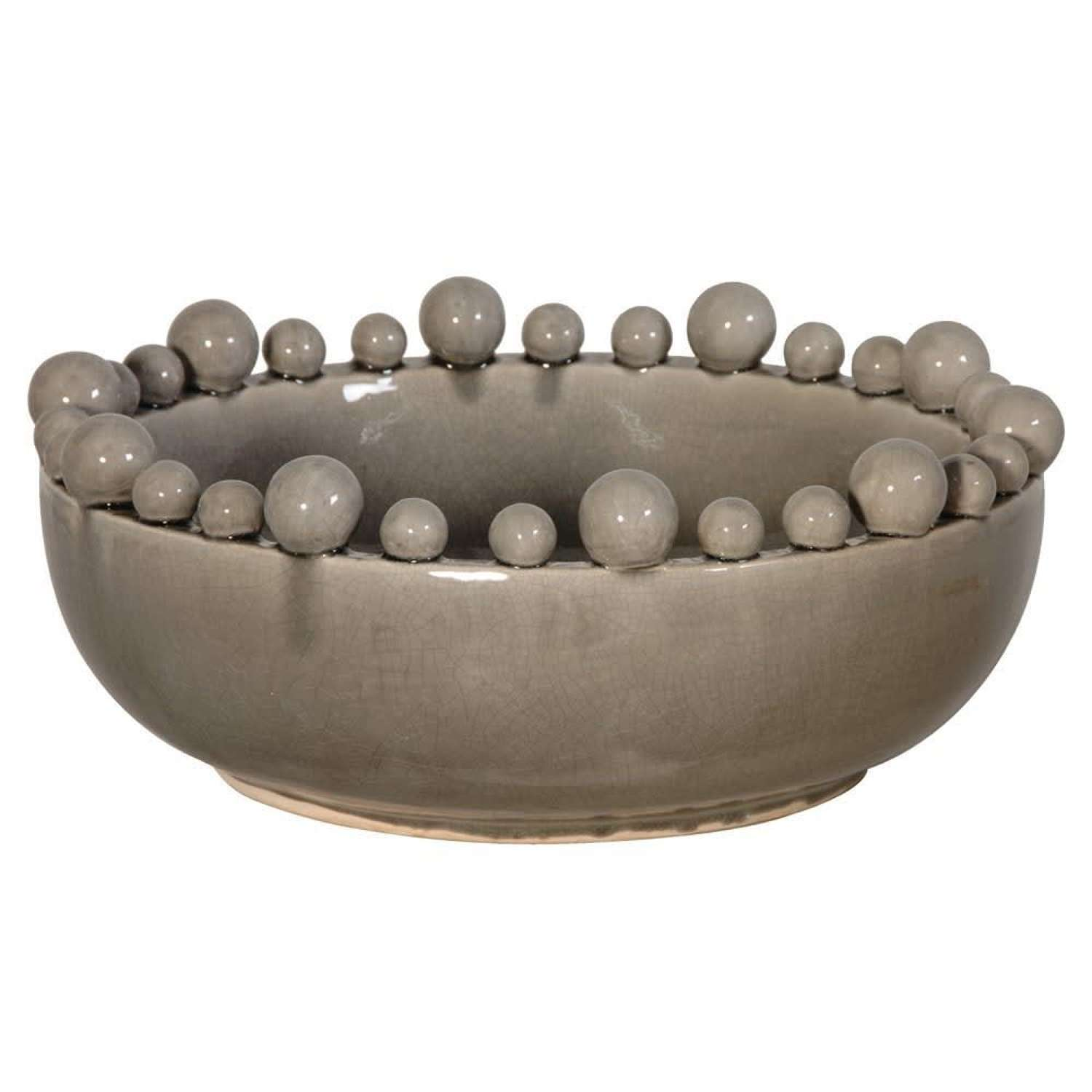 Ceramic Bowl with Ball Rim - Grey