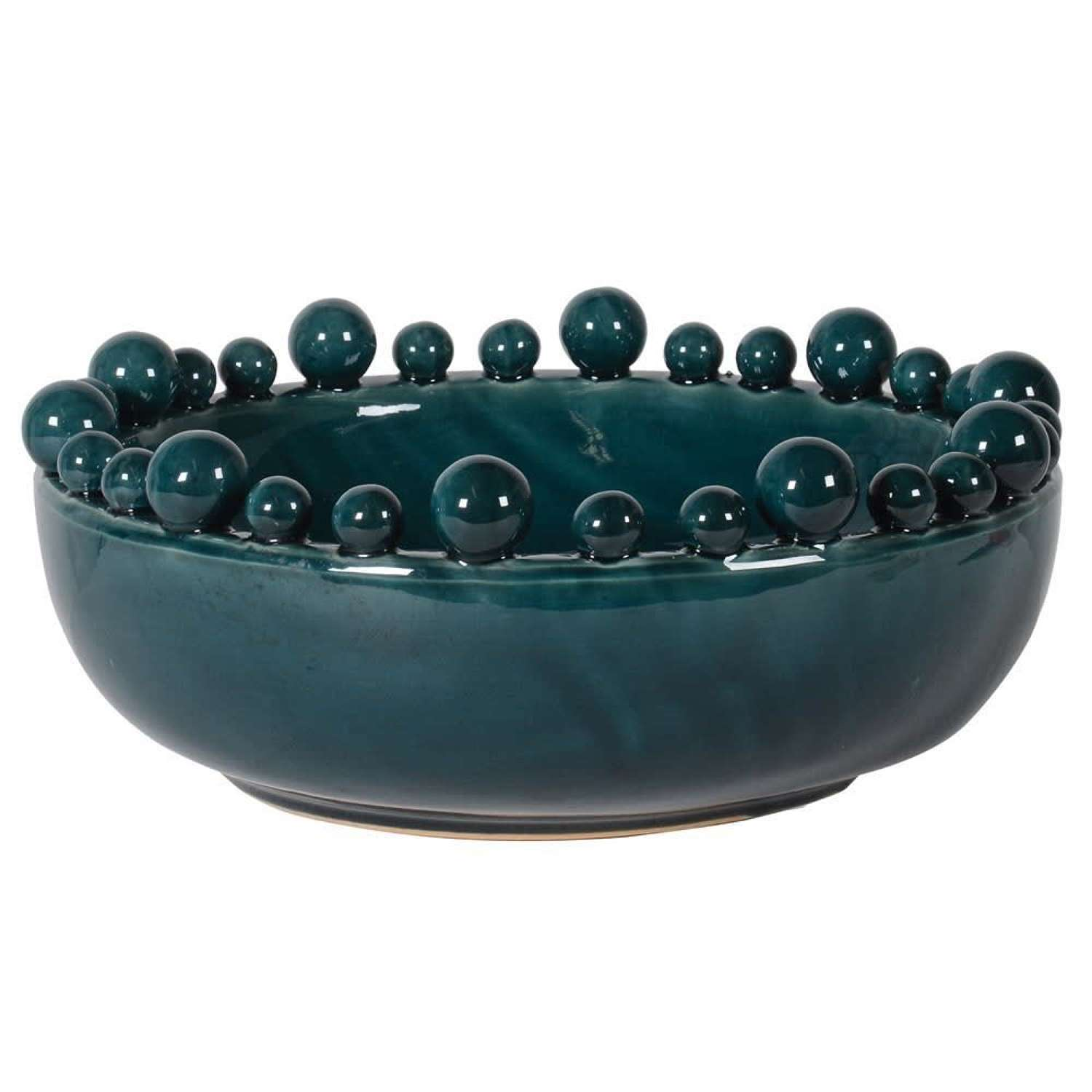 Ceramic Bowl with Ball Rim - Teal