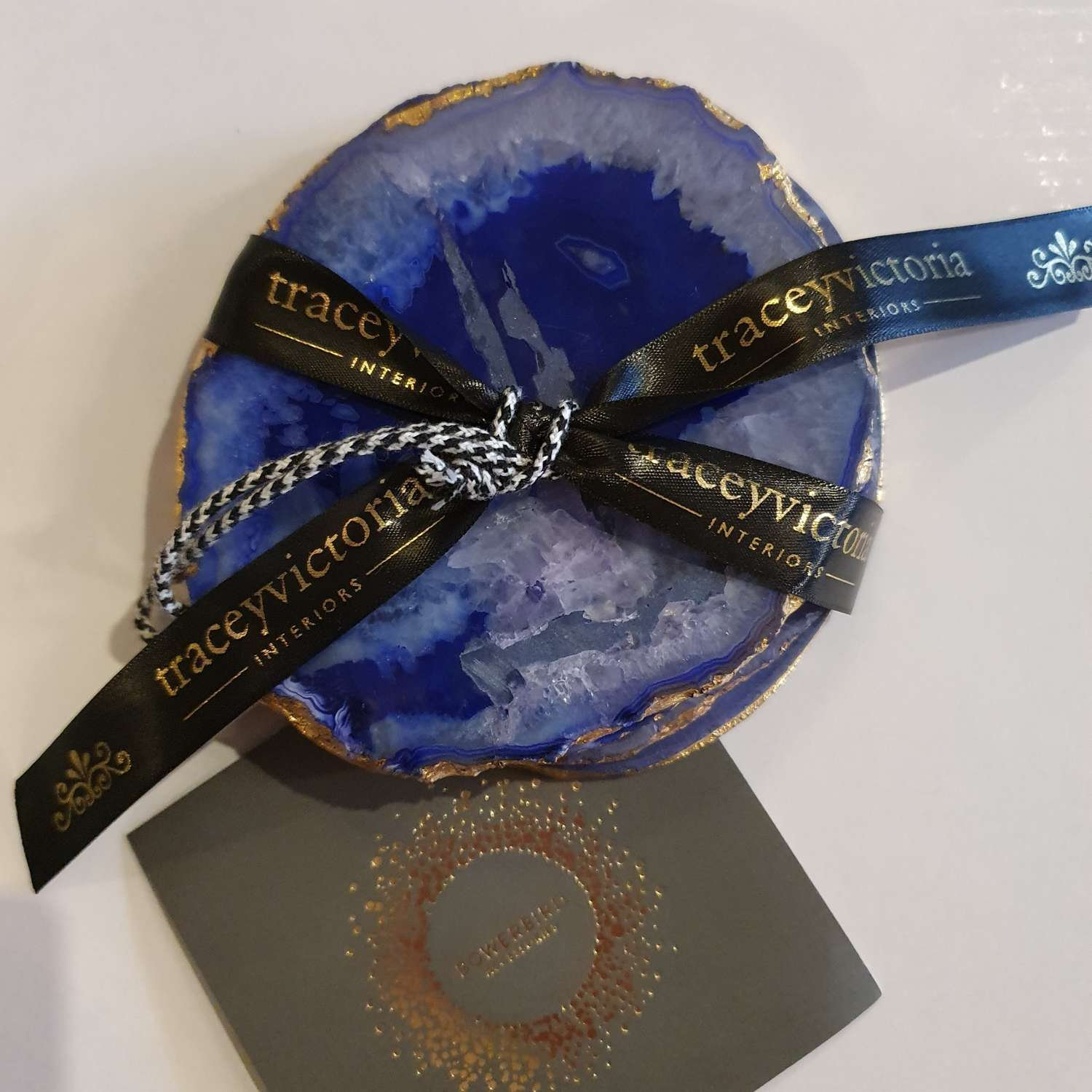 Blue Gold Coasters - Semi Precious Agate