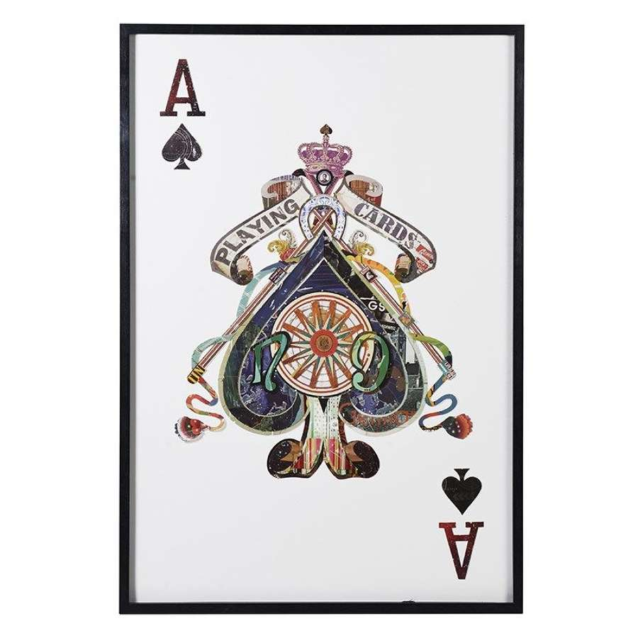 Oversized Ace of Spades Playing Card in Black Frame