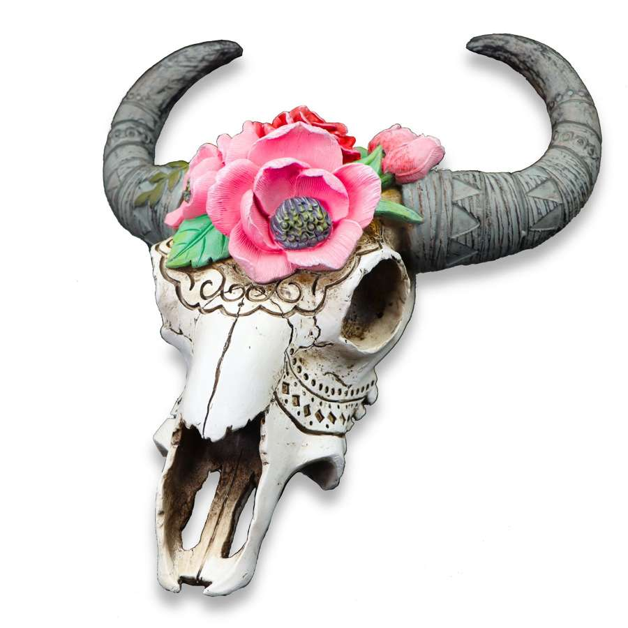 Decorative Ram Skull with Flowers