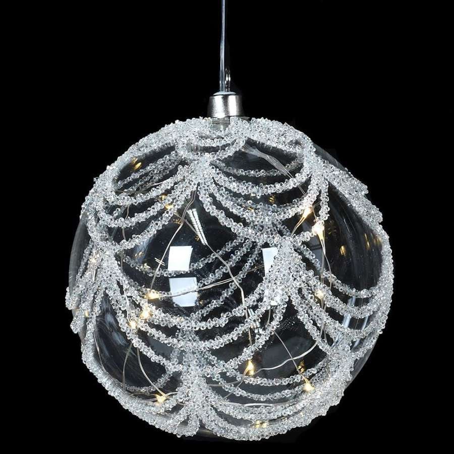 Lit glitter, large glass bauble