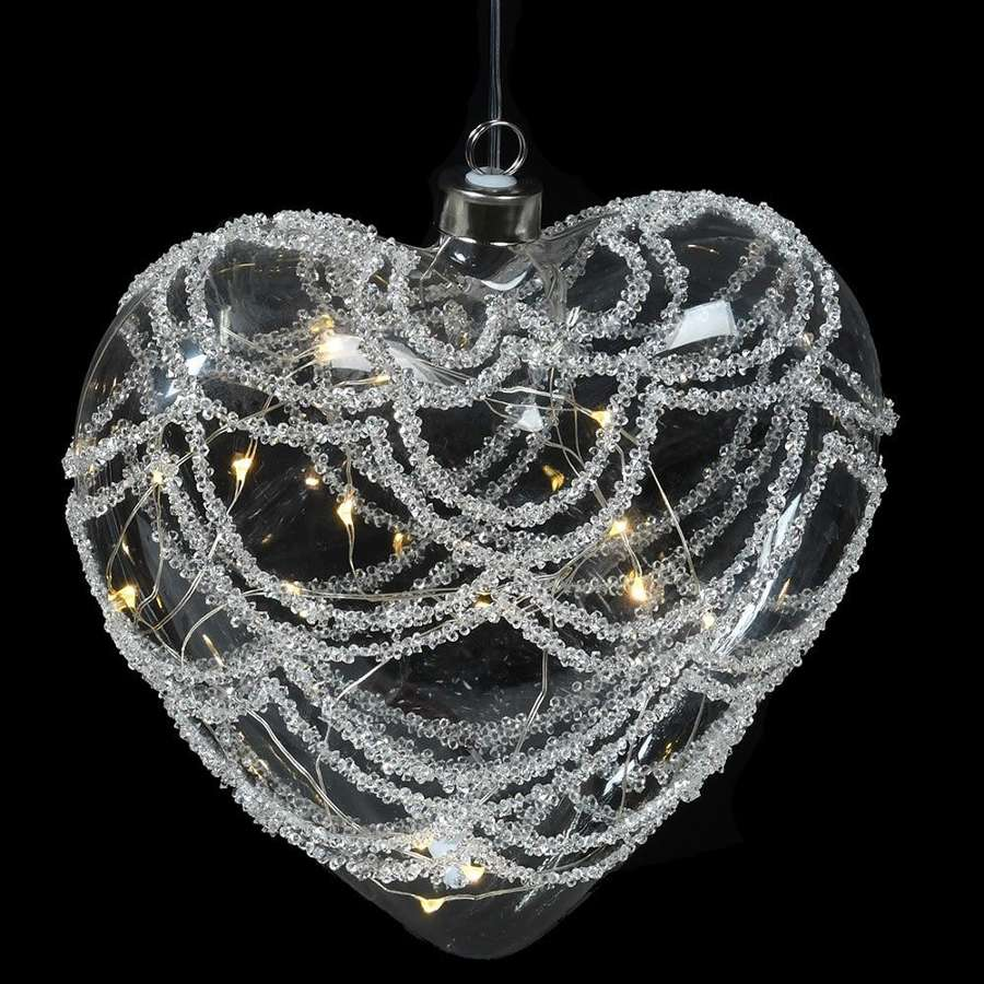 Lit glitter, large glass heart shaped bauble