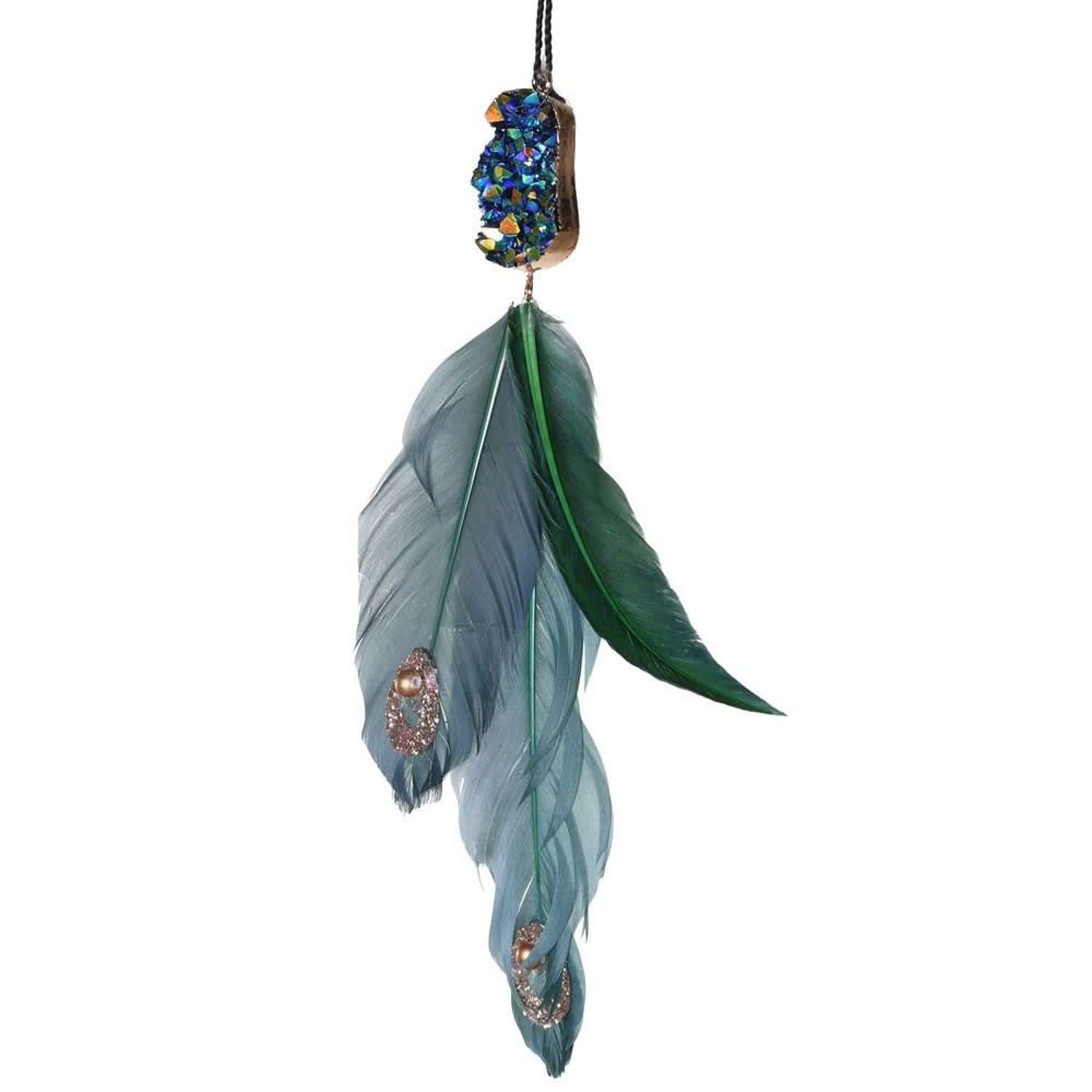 Green jewelled hanging feather decoration