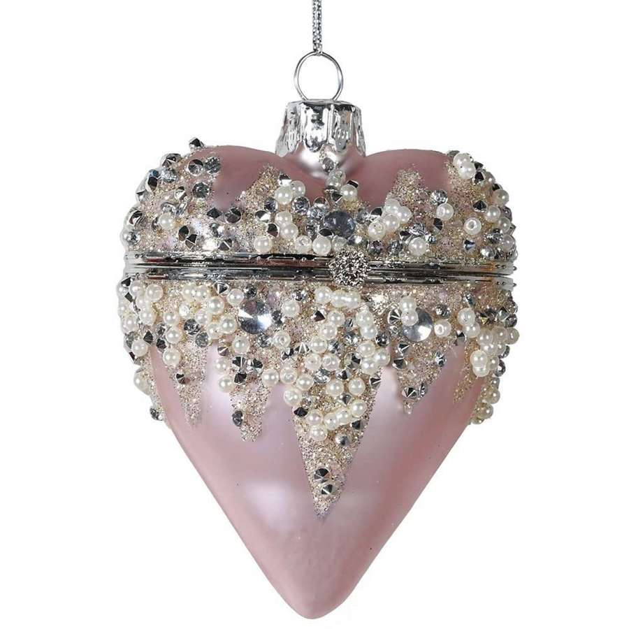 Hanging pink jewelled heart box