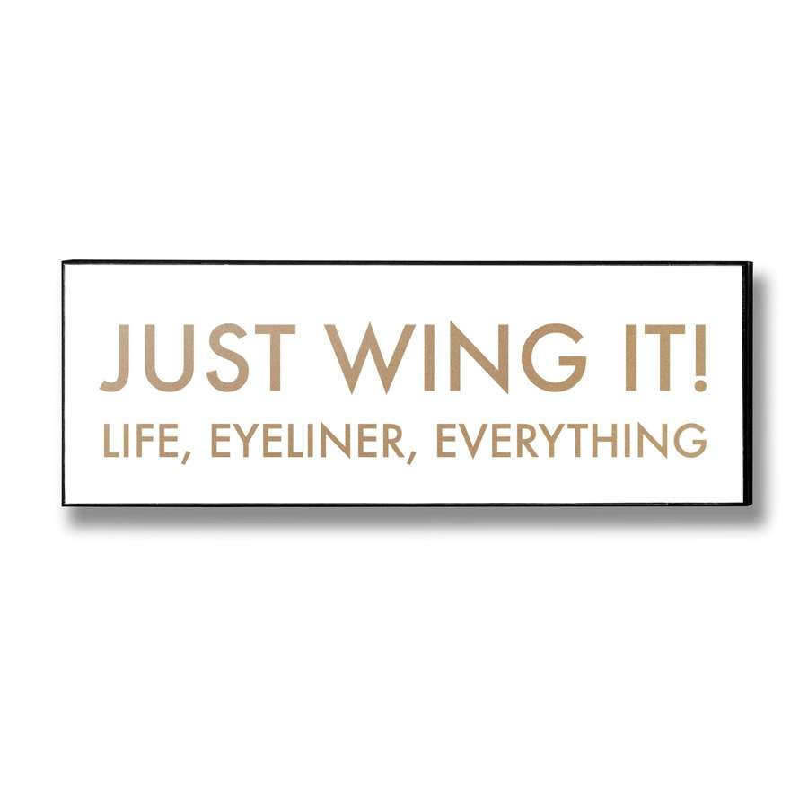 'Wing it' Gold foil on white background