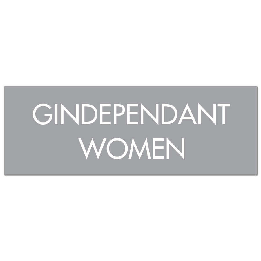 'Gindependant woman' Silver foil on grey background
