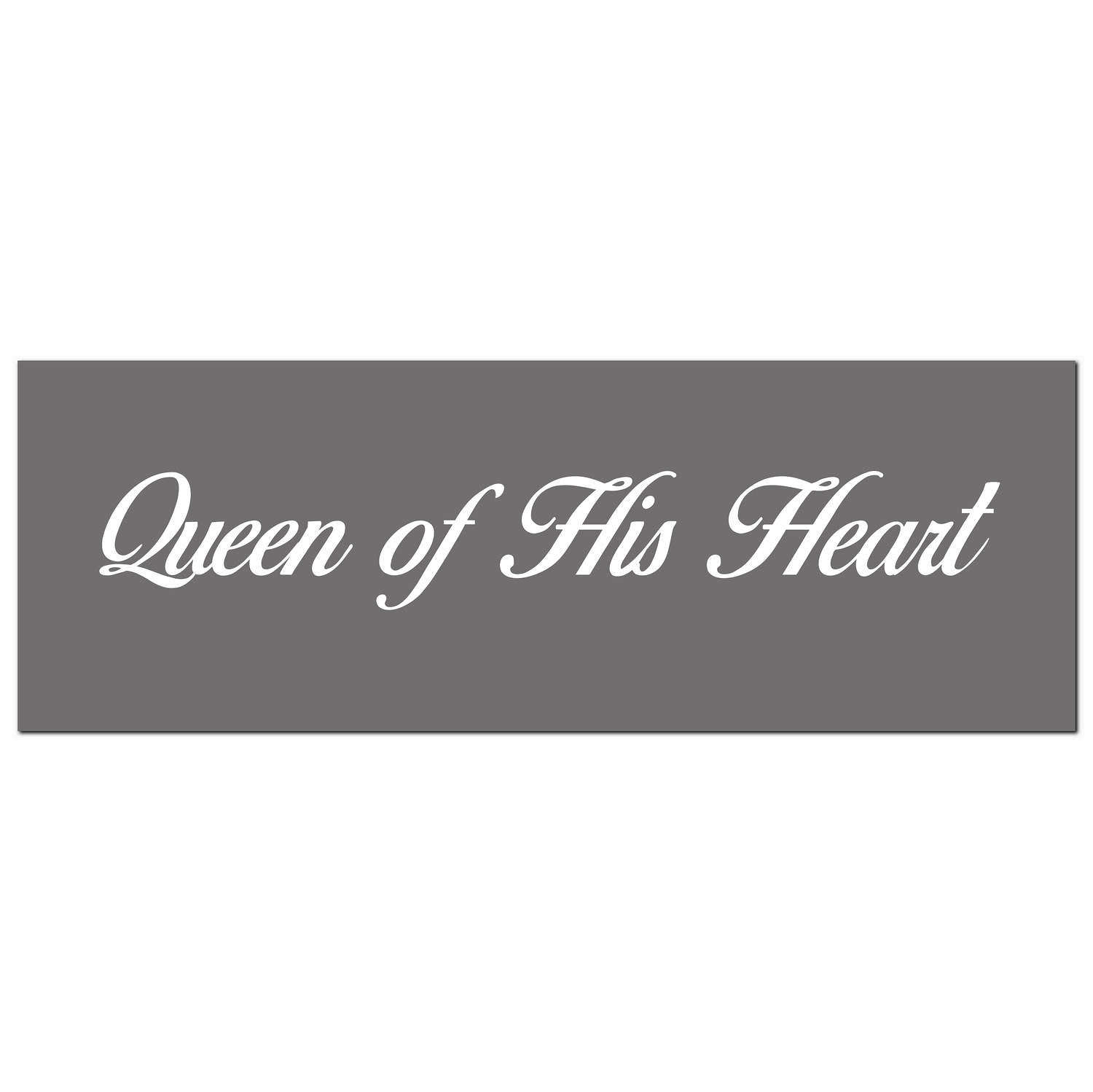 'Queen of his heart' silver foil on grey background