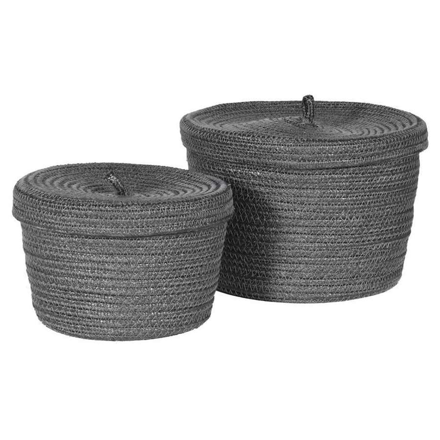 Set of 2 recycled lidded baskets