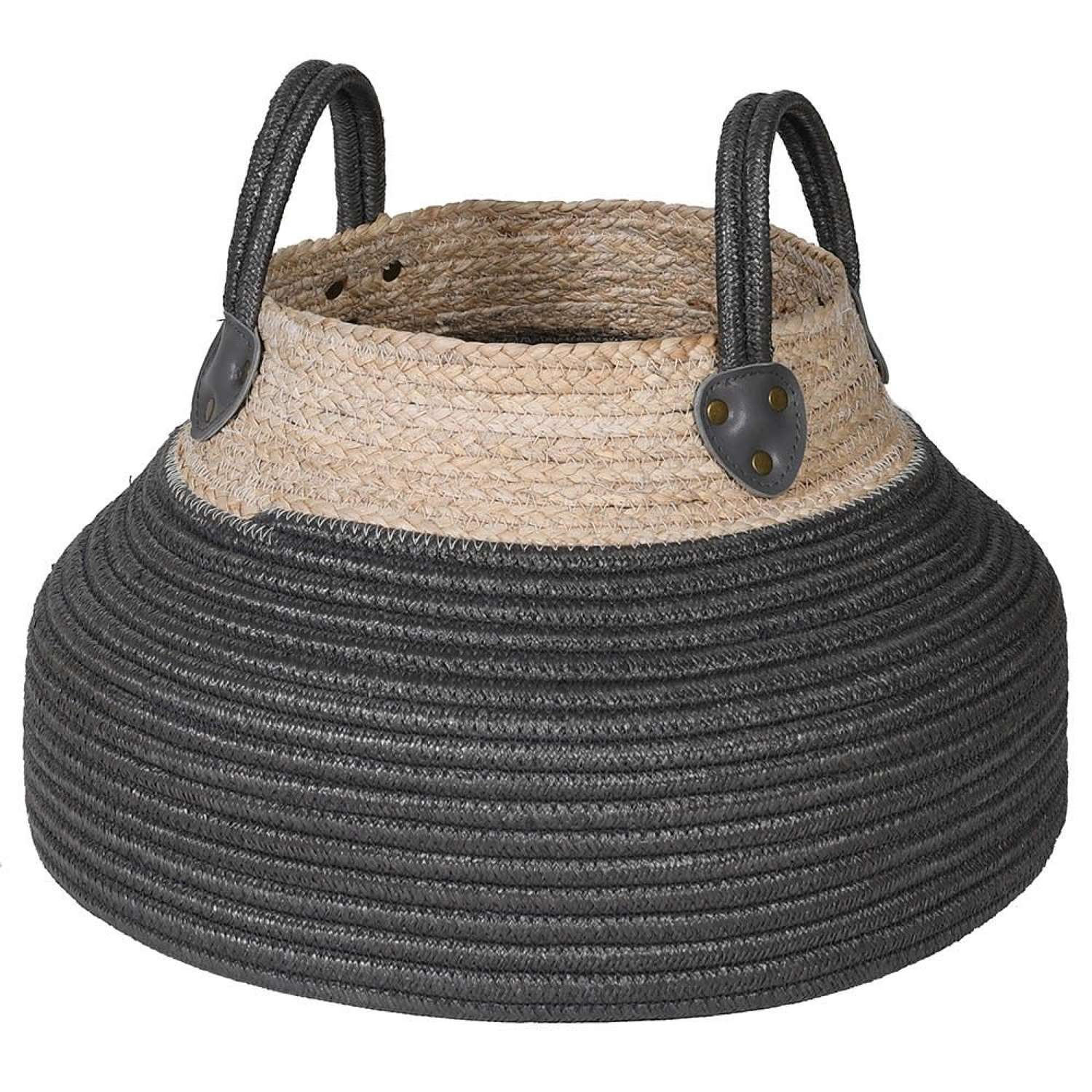 Two tone maize and rope coloured basket with handles