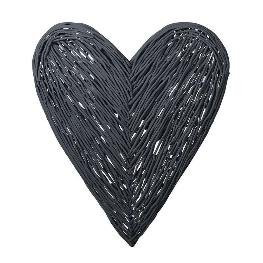 Extra large dark grey willow heart - wall art