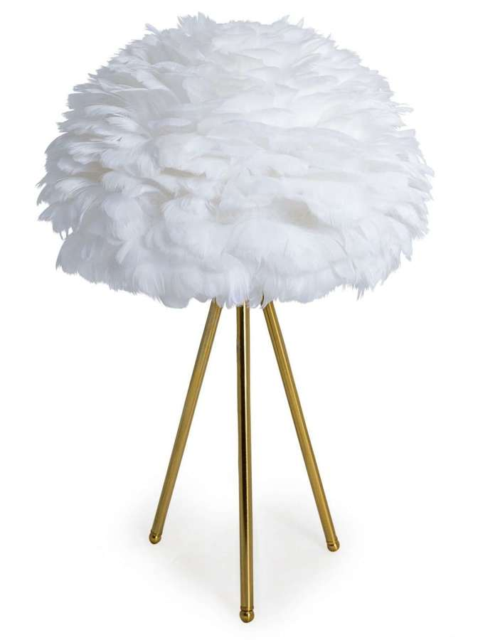 White feather tripod table lamp - gold