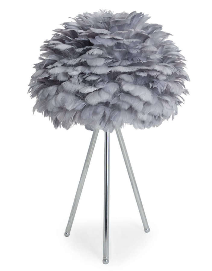 Grey feather tripod table lamp - chrome