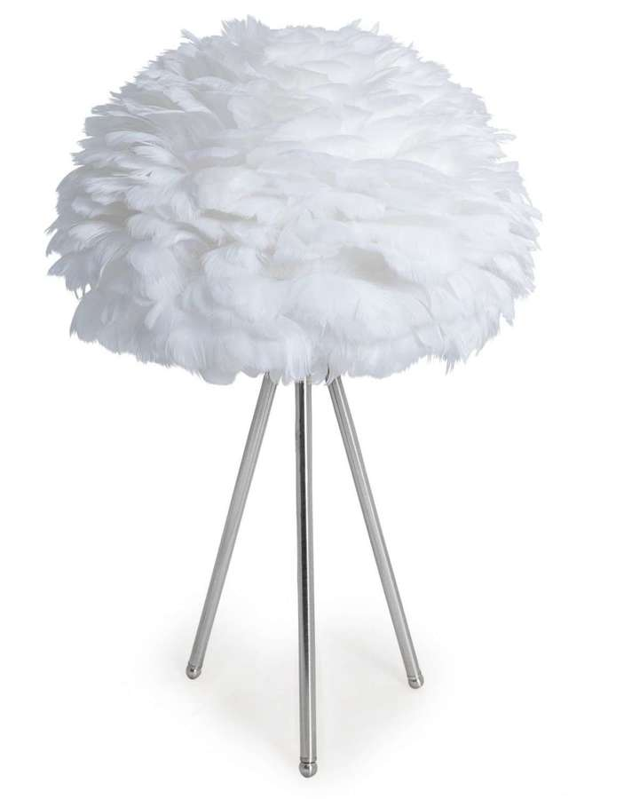 White feather tripod table lamp - chrome