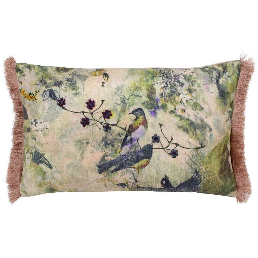 Blush fringed cushion cover with birds - vintage style