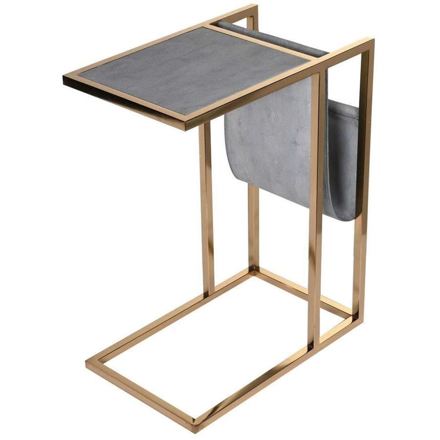 Faux leather occasional table with magazine pouch