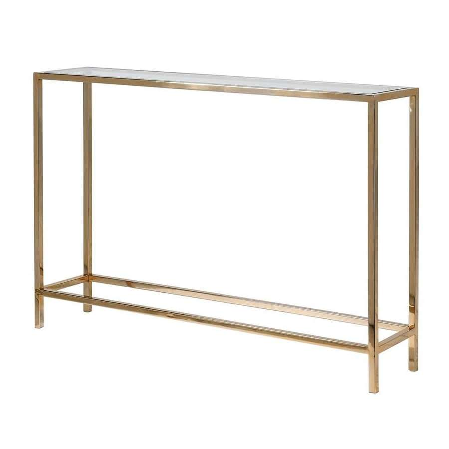 Very slim, gold console table with tempered glass top